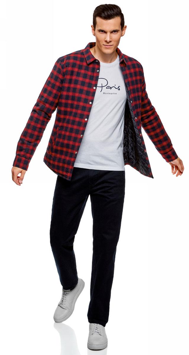 Рубашка мужская oodji Lab, цвет: красный, темно-синий. 1L111030M/47458N/4579C. Размер M-182 (50/182)1L111030M/47458N/4579CОригинальная утепленная рубашка, выполненная из натурального хлопка, отлично дополнит ваш гардероб. Модель с длинными рукавами и отложным воротником застегивается на кнопки.