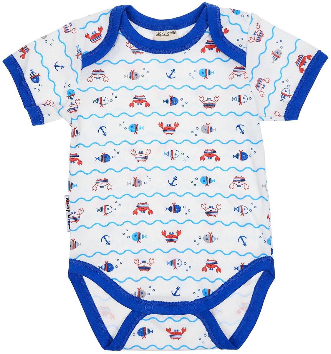 Боди детское Luky Child, цвет: молочный, синий. А5-119/цв. Размер 80/86 боди детское luky child цвет серый а2 105 цв размер 80 86