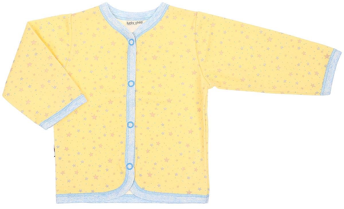 Кофта детская Luky Child, цвет: желтый. А1-120. Размер 80/86А1-120Кофточка Lucky Child с длинными рукавами послужит идеальным дополнением к гардеробу вашего малыша, обеспечивая ему наибольший комфорт. Изготовленная из натурального хлопка, она необычайно мягкая и легкая, не раздражает нежную кожу ребенка и хорошо вентилируется, а эластичные швы приятны телу малыша и не препятствуют его движениям. Удобные застежки-кнопки по всей длине помогают легко переодеть младенца. Рукава понизу дополнены трикотажными манжетами, не стягивающими запястья. На модель оформлена оригинальным принтом. Кофточка полностью соответствует особенностям жизни ребенка в ранний период, не стесняя и не ограничивая его в движениях. В ней ваш малыш всегда будет в центре внимания.