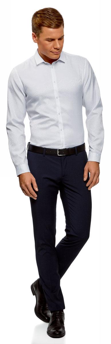 Рубашка мужская oodji Lab, цвет: белый. 3L110294M/47622N/1000E. Размер 43-182 (54-182)3L110294M/47622N/1000EКлассическая рубашка, выполненная из хлопка с добавлением полиэстера - неотъемлемая часть мужского гардероба. Модель с длинными рукавами и отложным воротником застегивается на пуговицы.