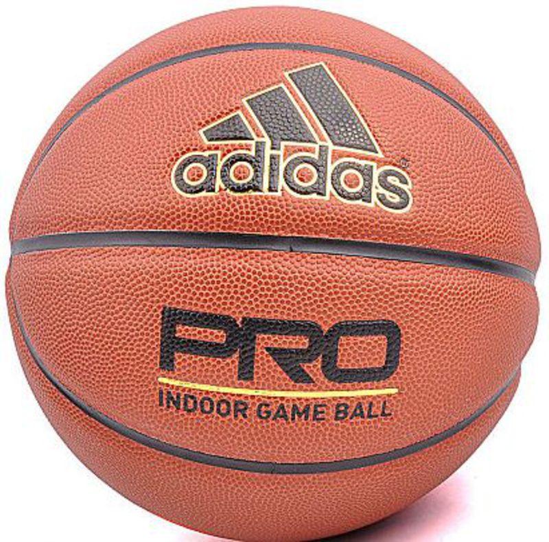Мяч баскетбольный Adidas New Pro Ball, цвет: оранжевый. Размер 7S08432Шероховатая поверхность мяча из искусственной кожи для большего комфорта ладони и лучшего сцепления с гладкой поверхностью - Плотная бутил каучуковая камера надежно удерживает воздух - Рекомендован для игры в зале - Одобрен Международной федерацией баскетбола для регулярных тренировок и соревнований - Требуется накачать камеру
