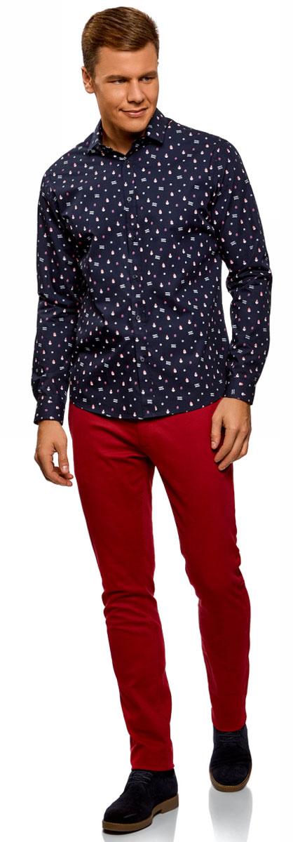 Рубашка мужская oodji Lab, цвет: темно-синий, мультиколор. 3L110295M/19370N/7919G. Размер 42-182 (52-182)3L110295M/19370N/7919GСтильная мужская рубашка, выполненная из натурального хлопка, незаменимая вещь любого гардероба. Модель с длинными рукавами и отложным воротником застегивается на пуговицы. Манжеты рукавов также дополнены застежками-пуговицами.