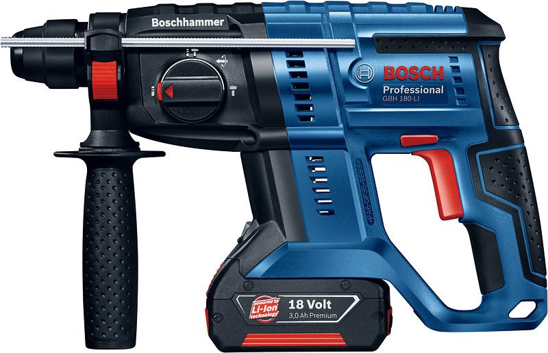 Аккумуляторный перфоратор Bosch GBH 180-Li, 2 АКБ. 0611911023 перфоратор аккумуляторный bosch gbh 36 vf li plus 611907002