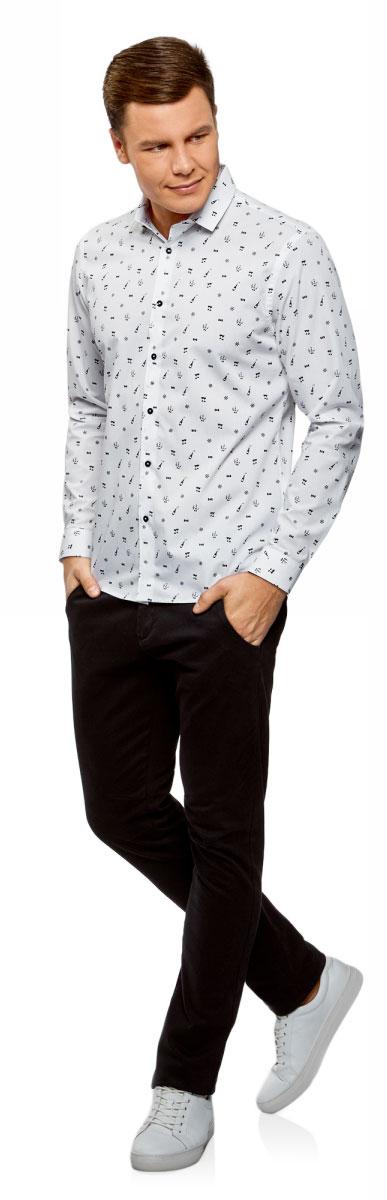 Рубашка мужская oodji Lab, цвет: белый, черный. 3L110296M/44425N/1029G. Размер 38-182 (44-182)3L110296M/44425N/1029GСтильная рубашка, выполненная из натурального хлопка, отлично дополнит ваш гардероб. Модель с длинными рукавами и отложным воротником застегивается на пуговицы.