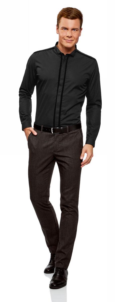 Рубашка мужская oodji Lab, цвет: темно-серый. 3L110297M/23286N/2900N. Размер 39-182 (46-182)3L110297M/23286N/2900NСтильная мужская рубашка, выполненная из натурального хлопка, незаменимая вещь любого гардероба. Модель с длинными рукавами и отложным воротником застегивается на пуговицы скрытые планкой. Манжеты рукавов дополнены застежками-пуговицами.