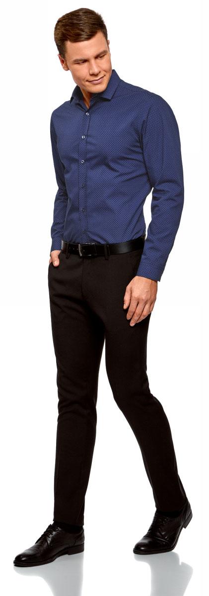 Рубашка мужская oodji Lab, цвет: синий, темно-синий. 3L110303M/44425N/7579G. Размер 39-182 (46-182)3L110303M/44425N/7579GСтильная мужская рубашка, выполненная из натурального хлопка, незаменимая вещь любого гардероба. Модель с длинными рукавами и отложным воротником застегивается на пуговицы. Манжеты рукавов также дополнены застежками-пуговицами.