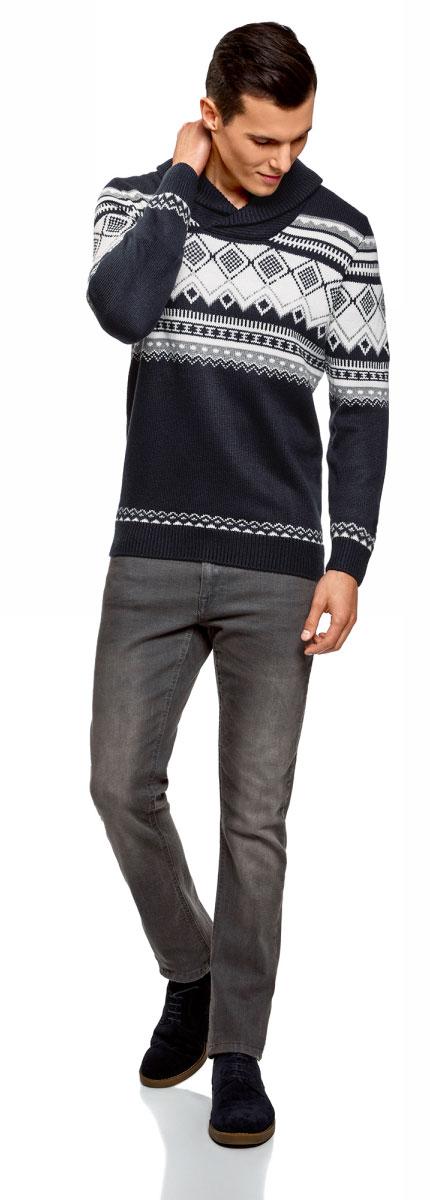 Пуловер мужской oodji Lab, цвет: темно-синий, белый. 4L205022M/44012N/7912J. Размер XXL (58/60) цены онлайн