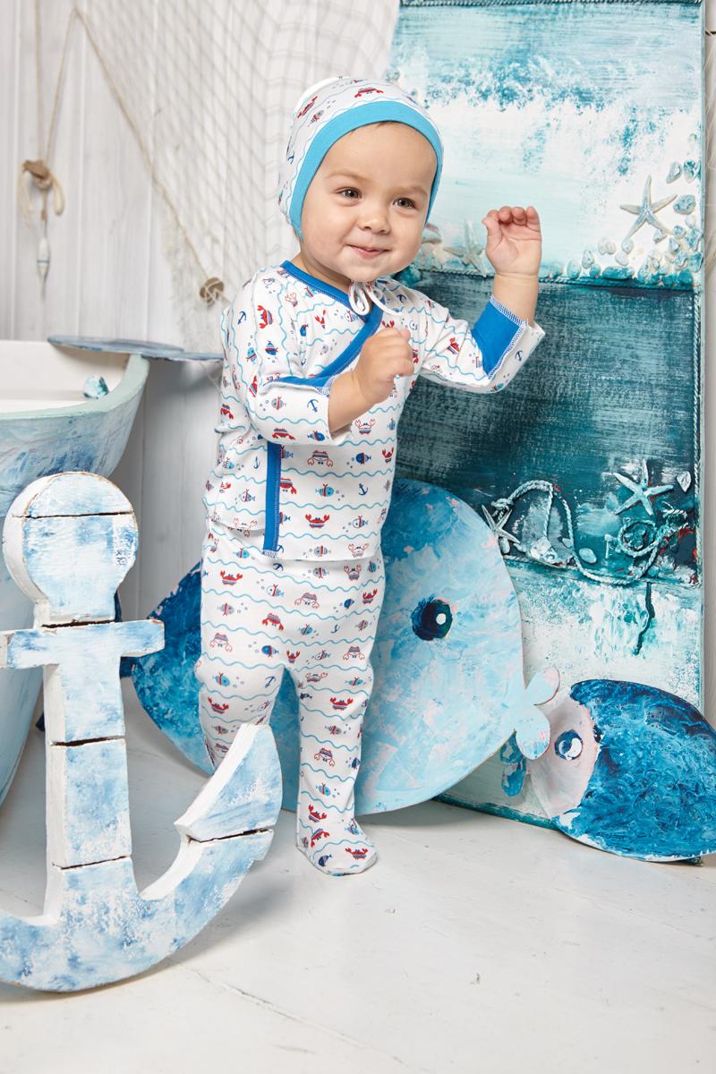 Ползунки детские Luky Child, цвет: молочный, синий. А5-104/цв. Размер 80/86 ползунки lucky child ползунки крабики а5 104