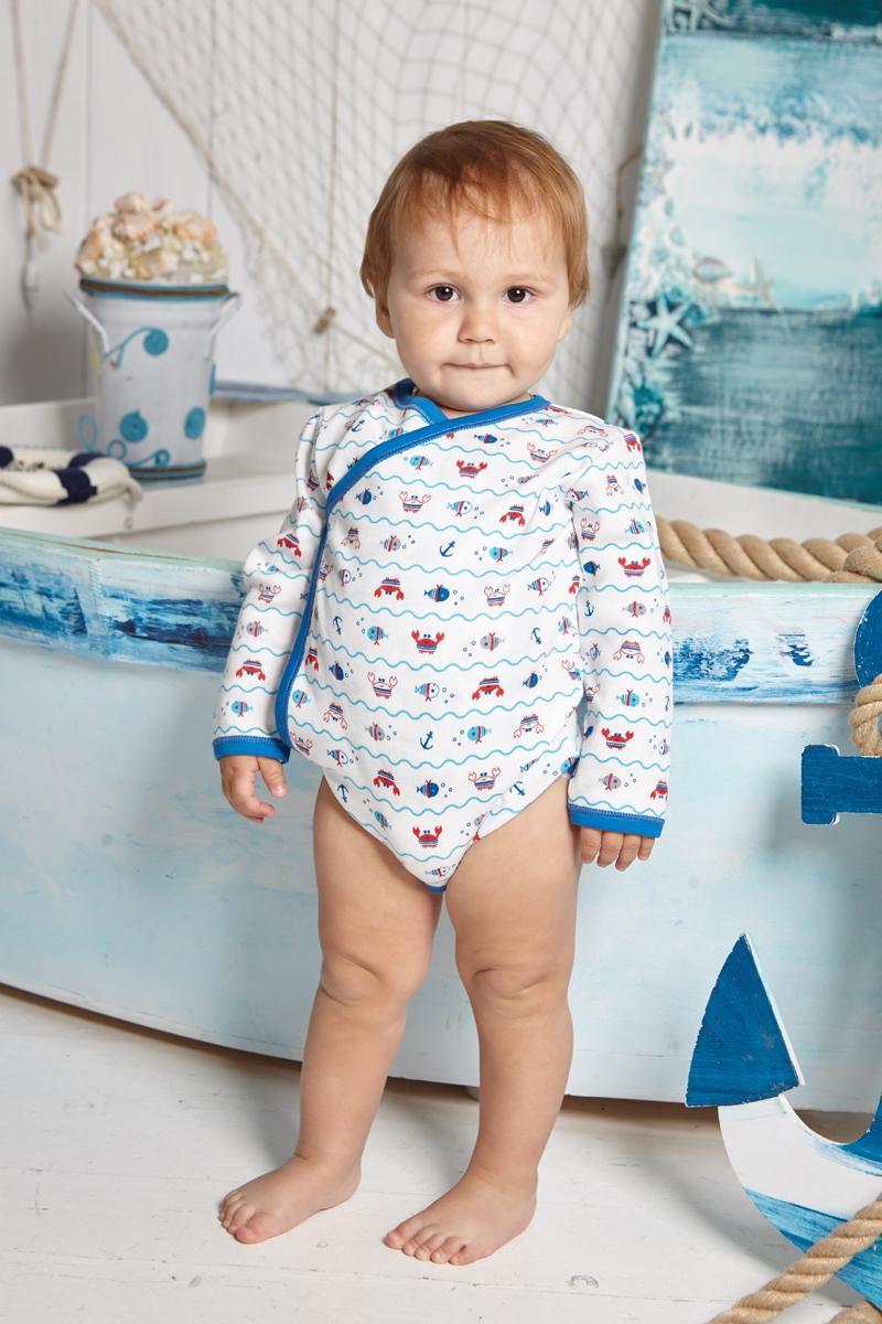 Боди детское Luky Child, цвет: молочный, синий. А5-105/цв. Размер 56/62А5-105/цвДетское боди Lucky Child с запахом и длинными рукавами послужит идеальным дополнением к гардеробу малыша, обеспечивая ему наибольший комфорт. Боди изготовлено из натурального хлопка, благодаря чему оно необычайно мягкое и легкое, не раздражает нежную кожу ребенка и хорошо вентилируется, а эластичные швы приятны телу малыша и не препятствуют его движениям. Удобные застежки-кнопки спереди на ластовице помогают легко переодеть младенца и сменить подгузник. Боди спереди оформлено принтом. Изделие полностью соответствует особенностям жизни малыша в ранний период, не стесняя и не ограничивая его в движениях. В нем ваш ребенок всегда будет в центре внимания.