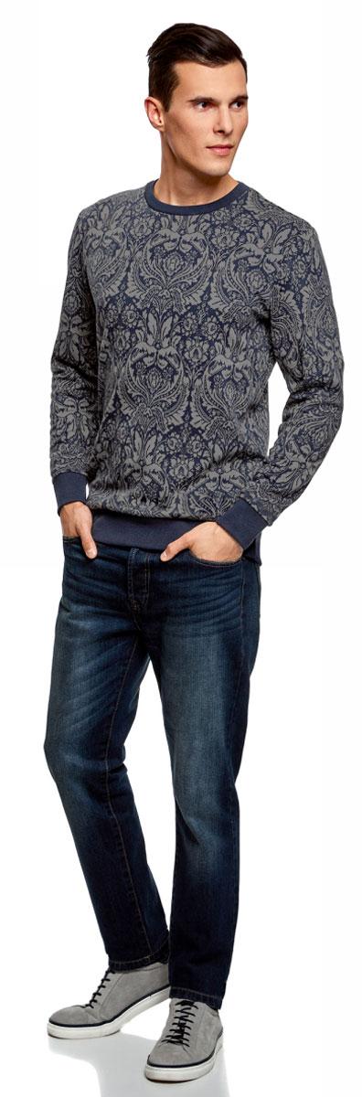 Свитшот мужской oodji Lab, цвет: темно-синий, темно-серый. 5L113113M/47506N/7925J. Размер L (52/54)5L113113M/47506N/7925JСтильный мужской свитшот, выполненный из хлопка с добавлением полиэстера, отлично дополнит ваш гардероб. Модель с длинными рукавами т круглым вырезом горловины оформлена оригинальным узором. Низ изделия, манжеты рукавов и горловина дополнены трикотажной резинкой.