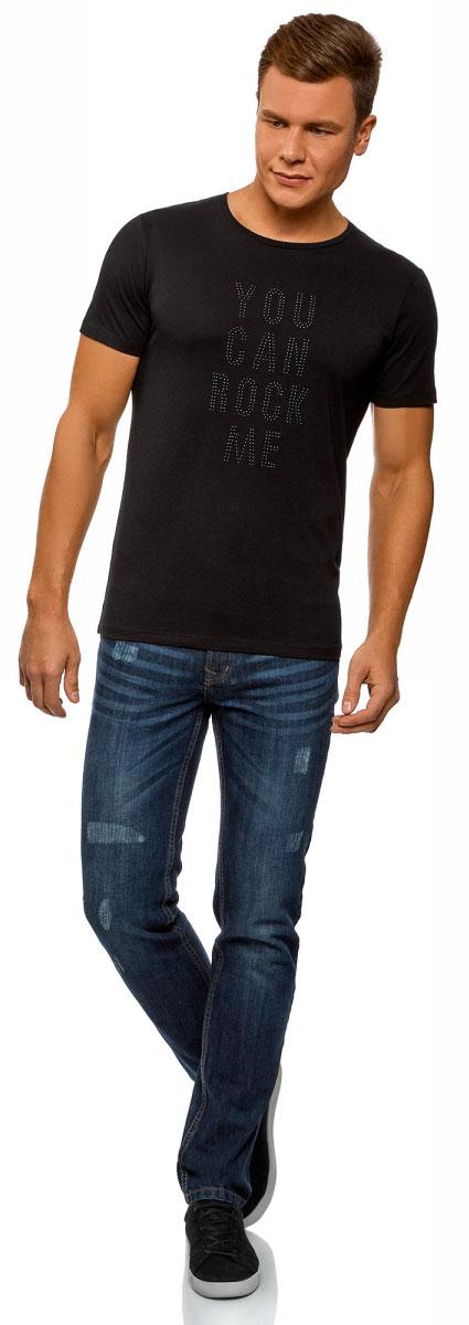 Футболка мужская oodji Lab, цвет: черный. 5L611410M/39333N/2929P. Размер M (50)5L611410M/39333N/2929PСтильная мужская футболка, выполненная из высококачественного материала, станет отличным дополнением вашего гардероба. Модель с круглым вырезом горловины и короткими рукавами спереди оформлена надписью. Горловина дополнена трикотажной резинкой.