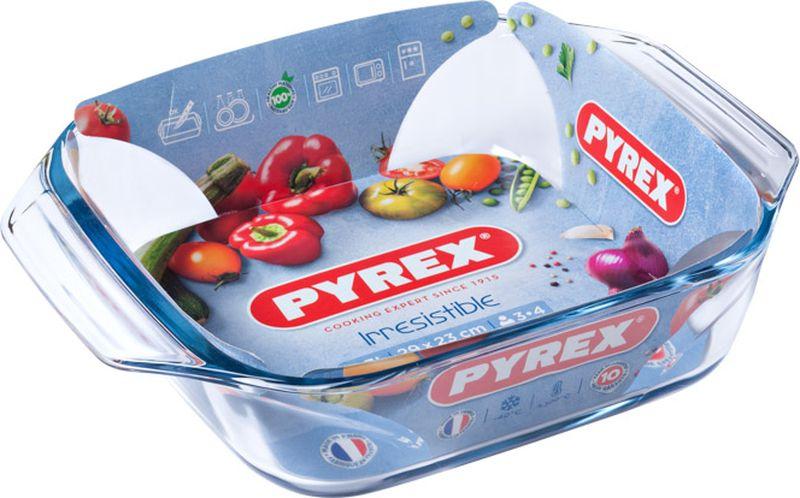 Блюдо для запекания Pyrex Irresistible, квадратное, 29 х 23 см400B000/7046Стойкое к образованию царапин, Абсолютно гладкая, непористая поверхност (не впитывает запахи /не меняет цвет/легкость чистки)