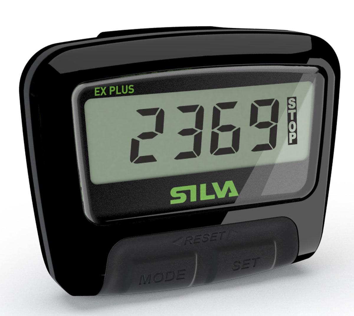 Шагомер Silva Pedometer ex Plus, цвет: черный56054Цифровой шагомер с новым сенсорным датчиком Accumotion для более точного подсчета шагов. Максимальный угол наклона 45 градусов позволяет регистрировать шаги не зависимо от положения тела. Корпус шагомера водонепроницаем. Кнопки размещены таким образом, чтобы предотвращать случайный сброс результатов. Если шагомер не используется, дисплей автоматически переходит в спящий режим для экономии заряда батареи.Функции: счетчик шагов, дистанция, время, расход калорий.