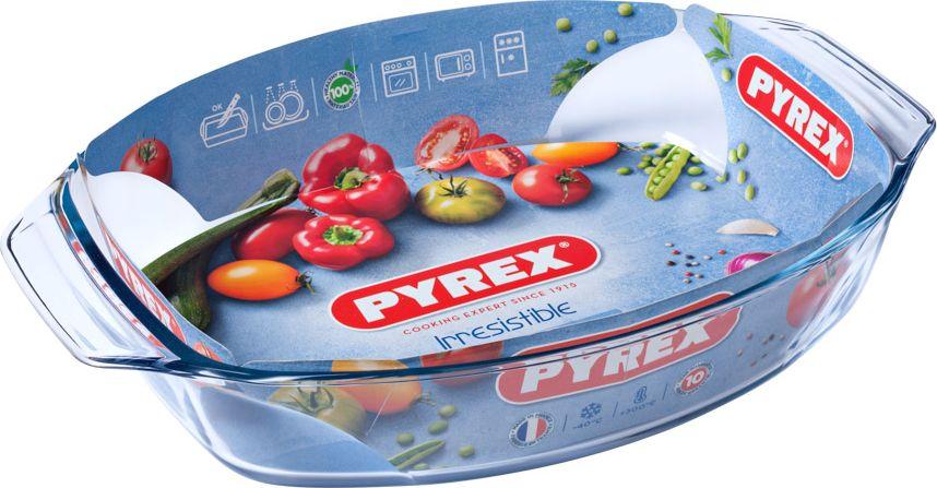 Блюдо для запекания Pyrex Irresistible, овальное, 39 х 27 см412B000/7044Блюдо для запекания Pyrex Irresistible изготовлено из боросиликатного стекла, устойчивого к резким перепадам температуры. Предназначено для приготовления, разогрева и хранения пищи. Благодаря гладкой непористой поверхности данное блюдо не впитывает запахи, не меняет цвет, легко моется. Стойкое к образованию царапин. Блюдо для запекания Pyrex Irresistible по достоинству оценит даже не профессиональный повар, поскольку благодаря данному атрибуту вы сможете с удовольствием приготовить любимое блюдо в духовом шкафу, сохранив особый аромат и полезные свойства, а главное, обеспечите себя дополнительным свободным временем. Посуда для запекания в духовке позволит вам создать уникальный и сочный кулинарный шедевр, варьирующийся на любой вкус и рецепт кулинара.Объем: 4 л. Высота борта: 7 см.