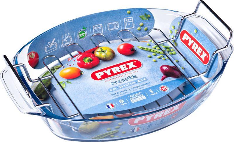 Блюдо для запекания Pyrex Irresistible, овальное, с решеткой, 39 х 27 см412U000/7043Блюдо для запекания Pyrex Irresistible изготовлено из боросиликатного стекла, устойчивого к резким перепадам температуры, и оснащено решеткой-гриль из нержавеющей стали. Предназначено для приготовления, разогрева и хранения пищи. Благодаря гладкой непористой поверхности данное блюдо не впитывает запахи, не меняет цвет, легко моется. Стойкое к образованию царапин. Блюдо для запекания Pyrex Irresistible по достоинству оценит даже не профессиональный повар, поскольку благодаря данному атрибуту вы сможете с удовольствием приготовить любимое блюдо в духовом шкафу, сохранив особый аромат и полезные свойства, а главное, обеспечите себя дополнительным свободным временем. Посуда для запекания в духовке позволит вам создать уникальный и сочный кулинарный шедевр, варьирующийся на любой вкус и рецепт кулинара. Объем: 4 л.Высота борта: 7 см.
