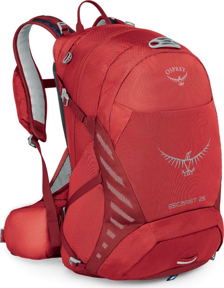 Рюкзак Osprey Escapist 25, цвет: красный, 25 л. Размер M/L28998Если после утомительного дня езды на велосипеде по лесным тропам, вы с радостью понимаете, что это еще не конец маршрута, то ваш выбор - рюкзак Escapist 25. Универсальная серия Escapist вобрала в себя дух приключений. Будь то путешествие на расстояние более 100 миль или просто поездка на работу, вентилируемая конструкция спины AirScape обеспечивает поддержку и максимальный комфорт. Во время стремительных спусков вы сможете оценить, насколько анатомично поясной ремень и лямки Biostretch облегают вашу спину. Мобильный телефон и солнцезащитные очки можно разместить в специальных защитных карманах - на лямках, чтобы они были под рукой, - или же в основном отделении. Во время езды на велосипеде важно поддерживать водный баланс, - специальный карман для трубки питьевой системы позволяет легко пополнить резервуар при необходимости. Путешествие предполагает несколько дней трекинга? Вам потребуется больше снаряжения. Эластичные карманы PowerMesh и стяжка InsideOut позволят надежно транспортировать вещи вне зависимости от ландшафта, по которому вы передвигаетесь. Во внутреннем органайзере удобно разместятся велоинструмент, запасные детали и насос. В ненастную погоду хорошо заметная яркая накидка от дождя защитит ваш рюкзак и содержимое от промокания. Светоотражающая графика и светодиодный фонарик, для которого в рюкзаке предусмотрено специальное крепление, сделают вас заметным в темное время суток.Максимальный размер: 50 x 27 x 31.Вес: 0,96 кг.Что взять с собой в поход?. Статья OZON Гид