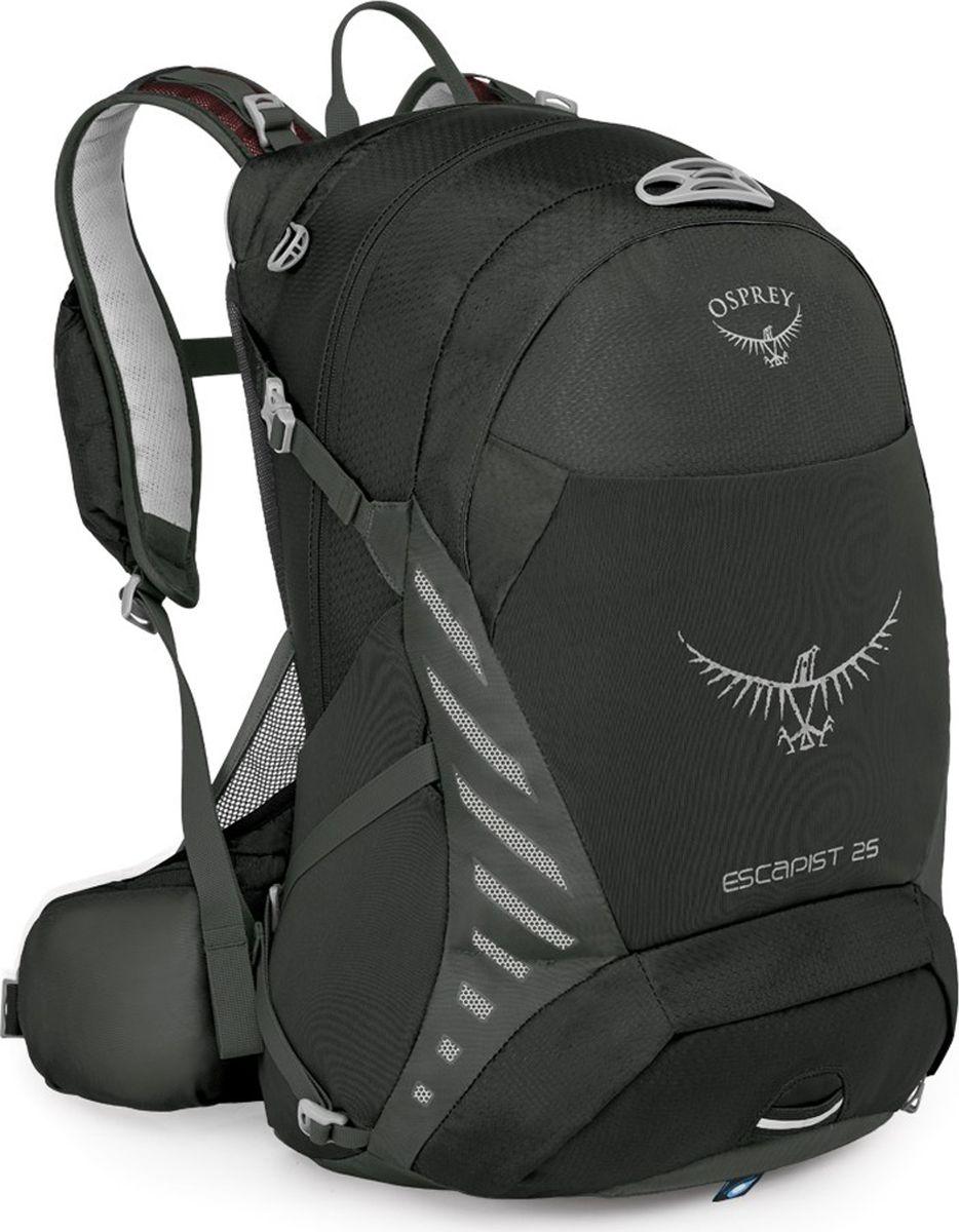 Рюкзак Osprey Escapist 25, цвет: черный, 25 л. Размер M/L28998Если после утомительного дня езды на велосипеде по лесным тропам, вы с радостью понимаете, что это еще не конец маршрута, то ваш выбор - рюкзак Escapist 25. Универсальная серия Escapist вобрала в себя дух приключений. Будь то путешествие на расстояние более 100 миль или просто поездка на работу, вентилируемая конструкция спины AirScape обеспечивает поддержку и максимальный комфорт. Во время стремительных спусков вы сможете оценить, насколько анатомично поясной ремень и лямки Biostretch облегают вашу спину. Мобильный телефон и солнцезащитные очки можно разместить в специальных защитных карманах - на лямках, чтобы они были под рукой, - или же в основном отделении. Во время езды на велосипеде важно поддерживать водный баланс, - специальный карман для трубки питьевой системы позволяет легко пополнить резервуар при необходимости. Путешествие предполагает несколько дней трекинга? Вам потребуется больше снаряжения. Эластичные карманы PowerMesh и стяжка InsideOut позволят надежно транспортировать вещи вне зависимости от ландшафта, по которому вы передвигаетесь. Во внутреннем органайзере удобно разместятся велоинструмент, запасные детали и насос. В ненастную погоду хорошо заметная яркая накидка от дождя защитит ваш рюкзак и содержимое от промокания. Светоотражающая графика и светодиодный фонарик, для которого в рюкзаке предусмотрено специальное крепление, сделают вас заметным в темное время суток.Максимальный размер: 50 x 27 x 31 см.Вес: 0,96 кг.Что взять с собой в поход?. Статья OZON Гид
