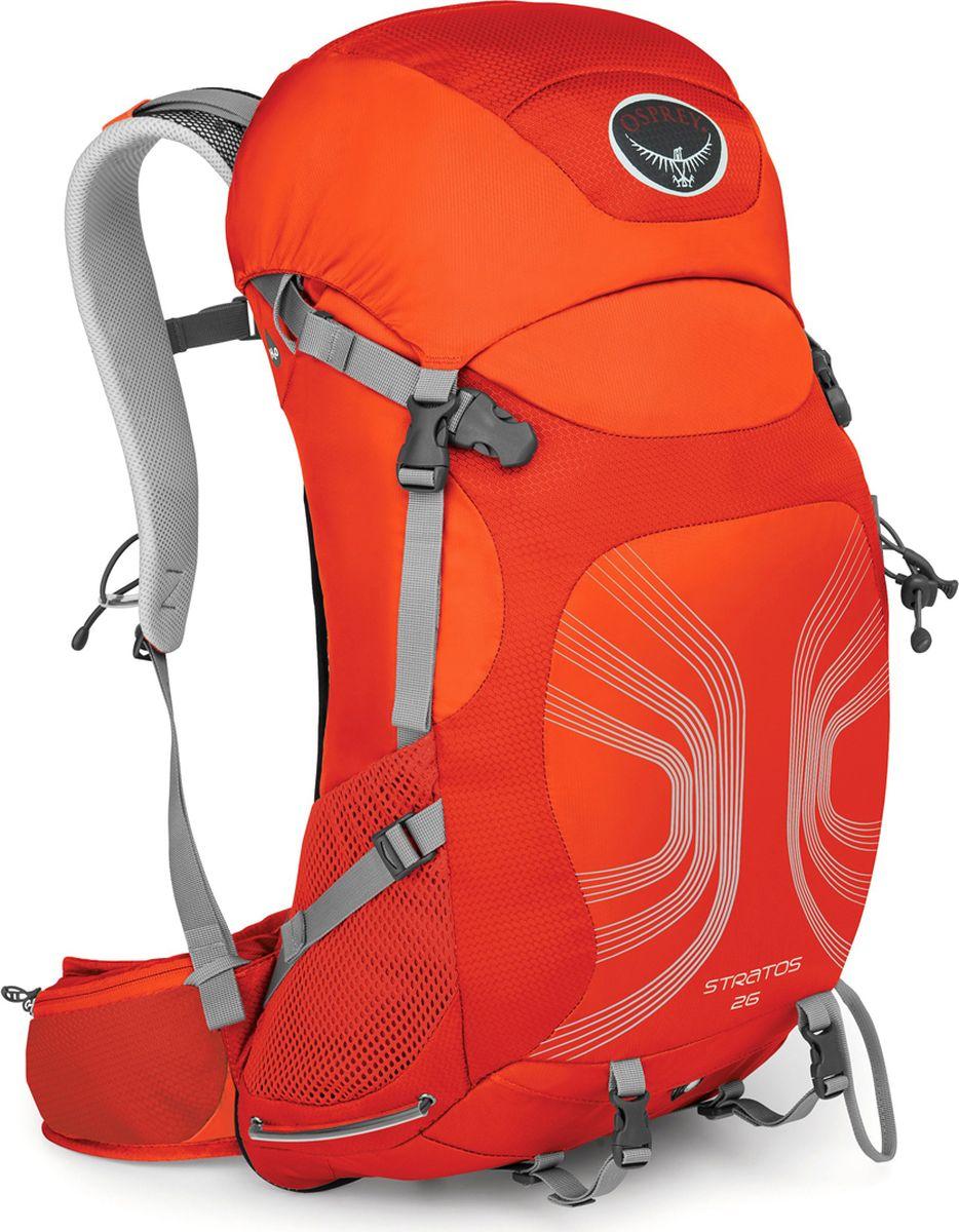 Рюкзак Osprey Stratos 26, цвет: оранжевый, 26 л. Размер S/M28508Рюкзаки серии Stratos имеют вентилируемую конструкцию спины AirSpeed из натянутой сетки с боковой вентиляцией, обеспечивая непревзойденный комфорт. Поясной ремень и лямки выполнены из наполнителя EVA с подкладкой из сетки для вентиляции. В жарких условиях особенно важно поддерживать водный баланс, - поэтому все рюкзаки серии Stratos оснащены специальным карманом для трубки питьевой системы. Встроенная накидка от дождя защищает рюкзак и вещи от промокания и грязи. Доступ в основное отделение через верхний клапан, закрывающийся на две пряжки, с внутренними карманами на молнии. В двух карманах на молнии на поясном ремне, а также боковых карманах из сетки со стяжкой InsideOut можно разместить остальное снаряжение. Для путешествий с ночевкой предусмотрены съемные ремни для коврика. С помощью уникальной системы крепления Stow-on-the-Go с двумя эластичными петлями можно легко и просто зафиксировать или снять трекинговые палки, не снимая рюкзак со спины. Петля для ледоруба особенно актуальна при передвижении по снегу и льду. Максимальный размер: (см) 64 (длина) x 30 (ширина) x 27 (глубина) Вес: 1.20 (M/L) кг Вентилируемая конструкция спины AirSpeed из натянутой сетки с боковой вентиляцией Грудная стяжка со свистком Эластичные боковые карманы из сетки со стяжкой InsideOut Фронтальная загрузка рюкзака на молнии 2 кармана на молнии на поясном ремне Система крепления трекинговых палок Stow-on-the-Go Встроенная съемная накидка от дождя Верхний карман с двумя отделениями на молнии Выход для трубки питьевой системы Внутренний карабин для ключей Съемные ремни для коврика Боковая стяжка Петля для крепления ледоруба
