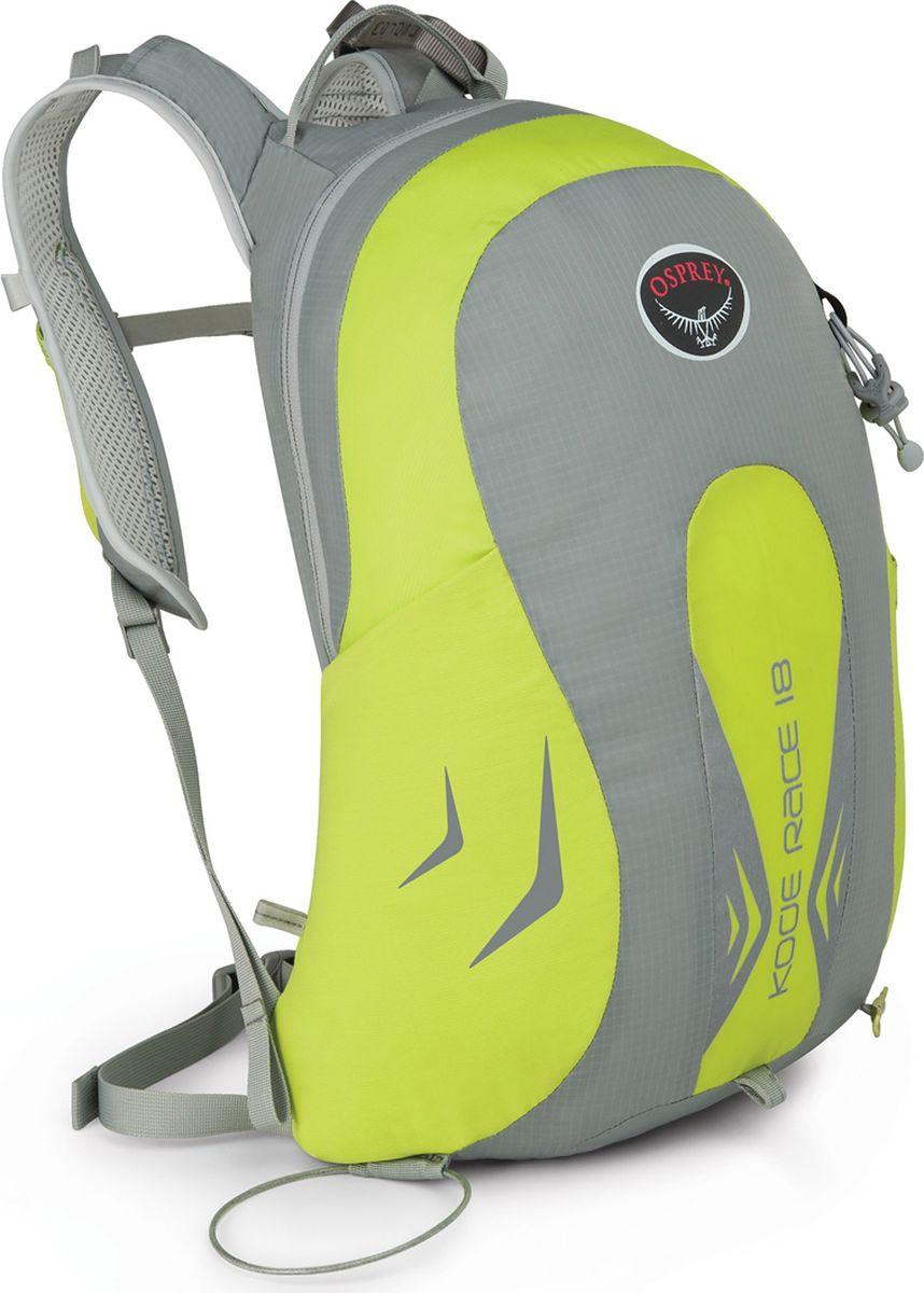 Рюкзак Osprey Kode Race 18, цвет: зеленый, 18 л1040566Рюкзак, идеальный для лыжных марафонов. Эффективный в движении и использовании снаряжения, он позволит вам раздвинуть границы возможностей. Иногда функциональный дизайн оказывается важнее легкости. Обладая весом 420 грамм, Kode Race 18 оснащен инновационными деталями. Снять или закрепить лыжи, достать или убрать кошки и лыжные камуса можно, не снимая рюкзак со спины. Специальные лямки спортивной формы оптимально распределяют нагрузку, а карманы на них дают возможность достать необходимые мелочи прямо на ходу. Основное отделение имеет внутренний отсек для питьевой системы, который совместим с различными типами резервуаров, позволяя постоянно поддерживать водный баланс в горах. Модульное крепление ToolLock для надежной фиксации ледового инструмента. Не обращайте внимания на время и соперников, но помните, что эффективность – ваше главное преимущество. Особенности: Фронтальная загрузка рюкзака на молнии; Светоотражающая графика; Возможность закрепить лыжи по диагонали, не снимая рюкзак со спины; Быстродоступные карманы для кошек и лыжных камусов; Модульное крепление ToolLock для ледового инструмента; Эластичный карман на лямках; Внутренний отсек для питьевой системы; Грудная стяжка; Эластичные боковые карманы из сетки. Максимальный размер: 69 x 33 x 30 см. Вес: 0,42 кг.Что взять с собой в поход?. Статья OZON Гид