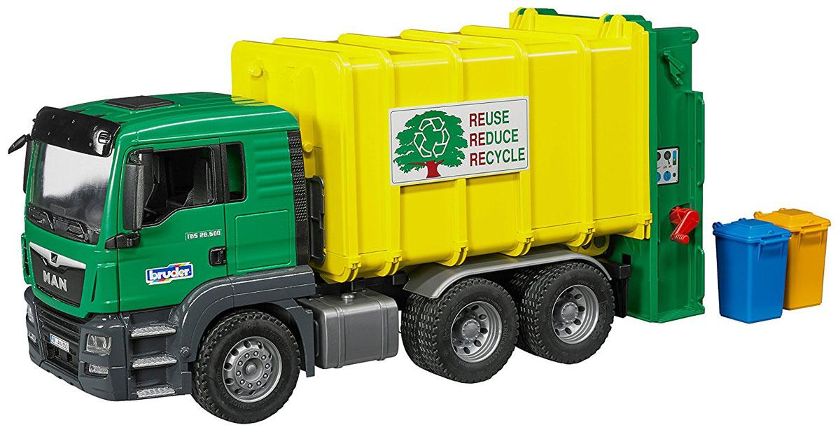 Bruder Мусоровоз Man TGS цвет зеленый желтый bruder bruder автокран с модулем со световыми и звуковыми эффектами man tgs
