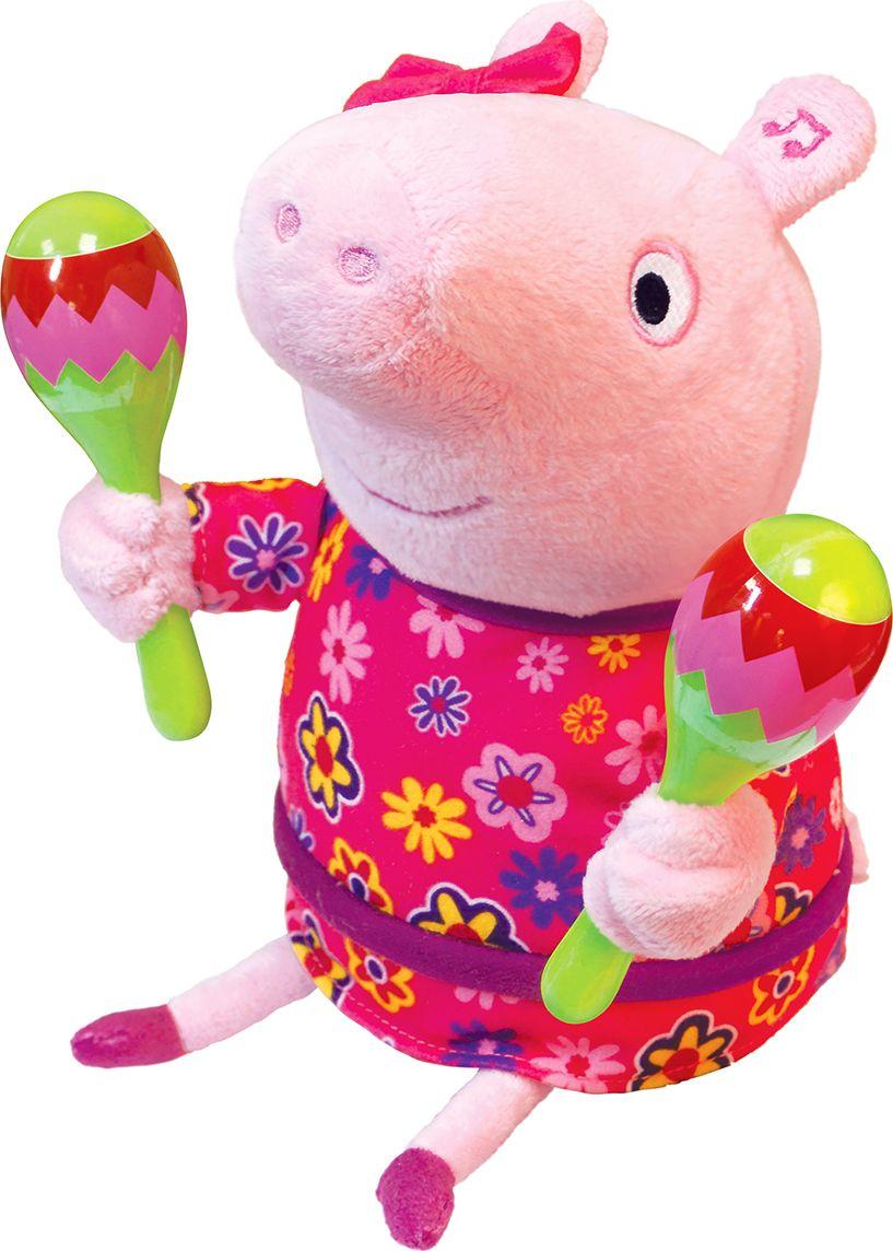 Свинка Пеппа Мягкая интерактивная игрушка Пеппа с маракасами 30 см росмэн мягкая игрушка пеппа с виноградом 20 см свинка пеппа