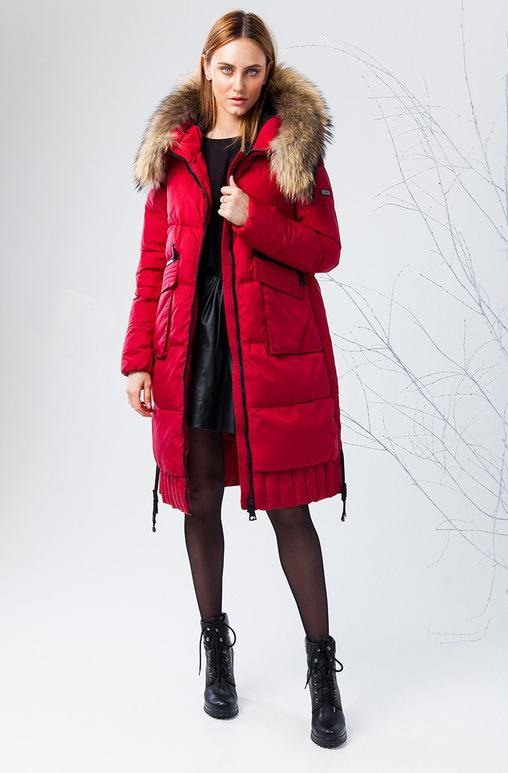 Пуховик женский Clasna, цвет: красный. CW17D-116CH. Размер XL (48)CW17D-116CH(189)Зимний женский пуховик от Clasna выполнен из высококачественного полиэстера с наполнителем из био-пуха. Удлиненная модель с длинными рукавами и капюшоном застегивается на молнию. Капюшон, декорированный опушкой из искусственного меха, не отстегивается. По бокам пуховик дополнен карманами. Имеет внутренний накладной кармашек.