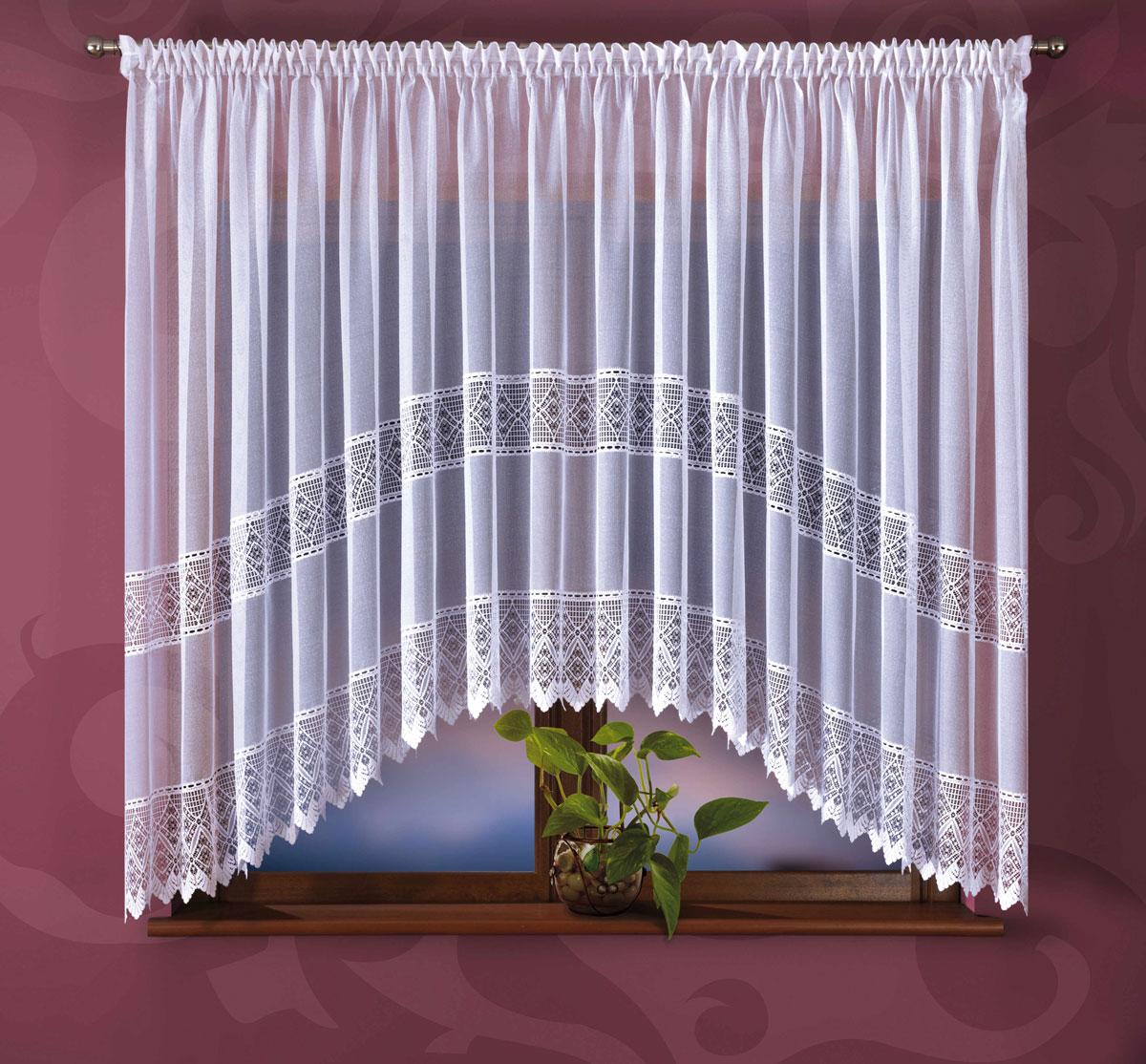 Гардина Wisan, на ленте, цвет: белый, высота 180 см. 355Е46860/160Гардина Wisan, выполненная из легкого полиэстера, станет великолепным украшением окна в спальне или гостиной. Качественный материал, тонкое плетение и оригинальный дизайн привлекут к себе внимание и позволят гардине органично вписаться в интерьер помещения.