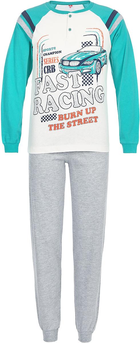 Пижама для мальчика Cherubino, цвет: бирюзовый, белый, серый. CAJ 5295. Размер 146 джемпер для мальчика s cool цвет серый белый оранжевый 363125 размер 146
