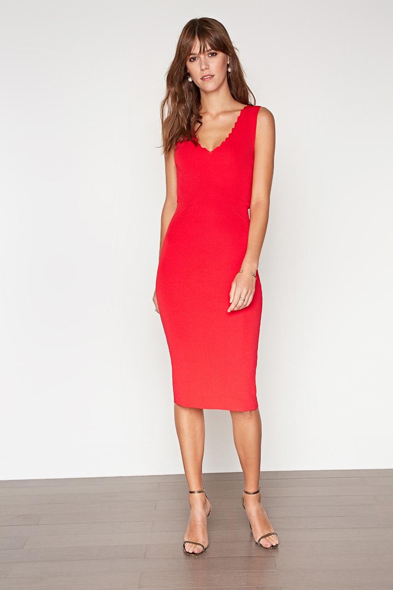 Платье Concept Club Cameron, цвет: красный. 10200200403_1500. Размер S (44)10200200403_1500Платье Concept Club выполнено из вискозы и полиамида. Модель с V-образным вырезом горловины.