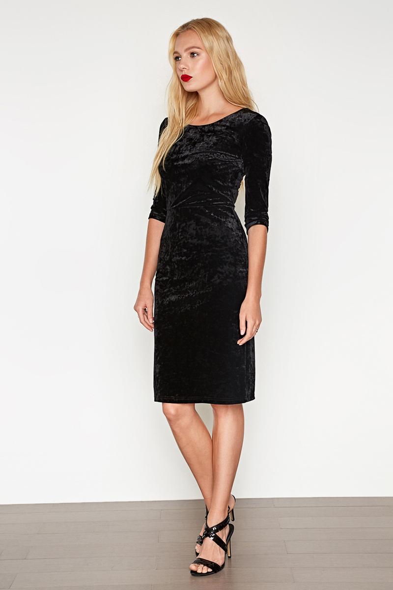 Платье Concept Club Orioni, цвет: черный. 10200200395_100. Размер XS (42)10200200395_100Платье Concept Club выполнено из полиэстера и эластана. Модель с круглым вырезом горловины сзади застегивается на застежку-молнию.