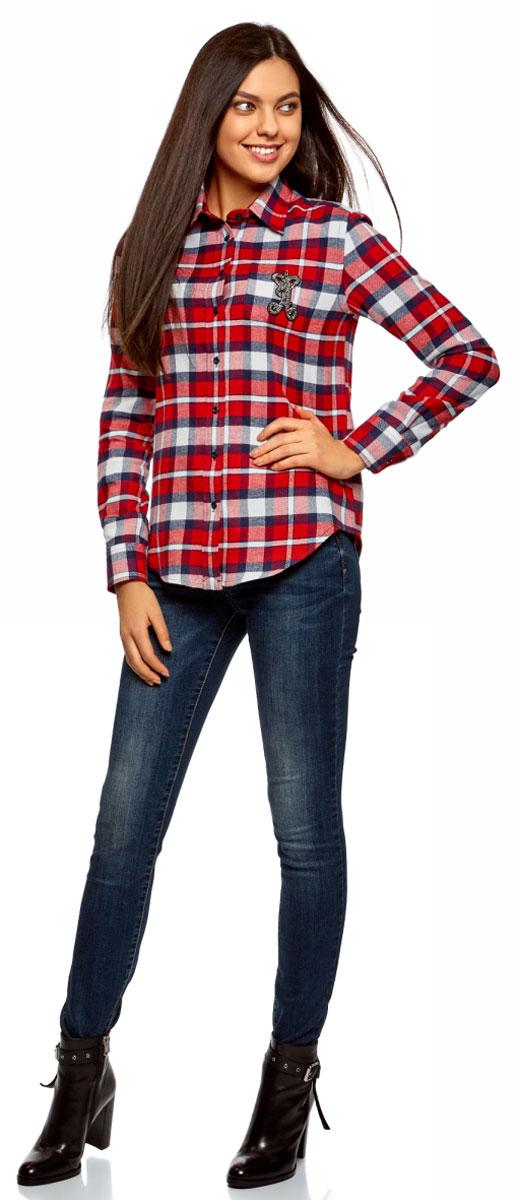 Рубашка женская oodji Ultra, цвет: белый, красный. 13L11005/47542/1245C. Размер 36-170 (42-170)13L11005/47542/1245CСтильная женская рубашка, выполненная из натурального хлопка, отлично дополнит ваш гардероб. Модель с длинными рукавами и отложным воротником застегивается на пуговицы.