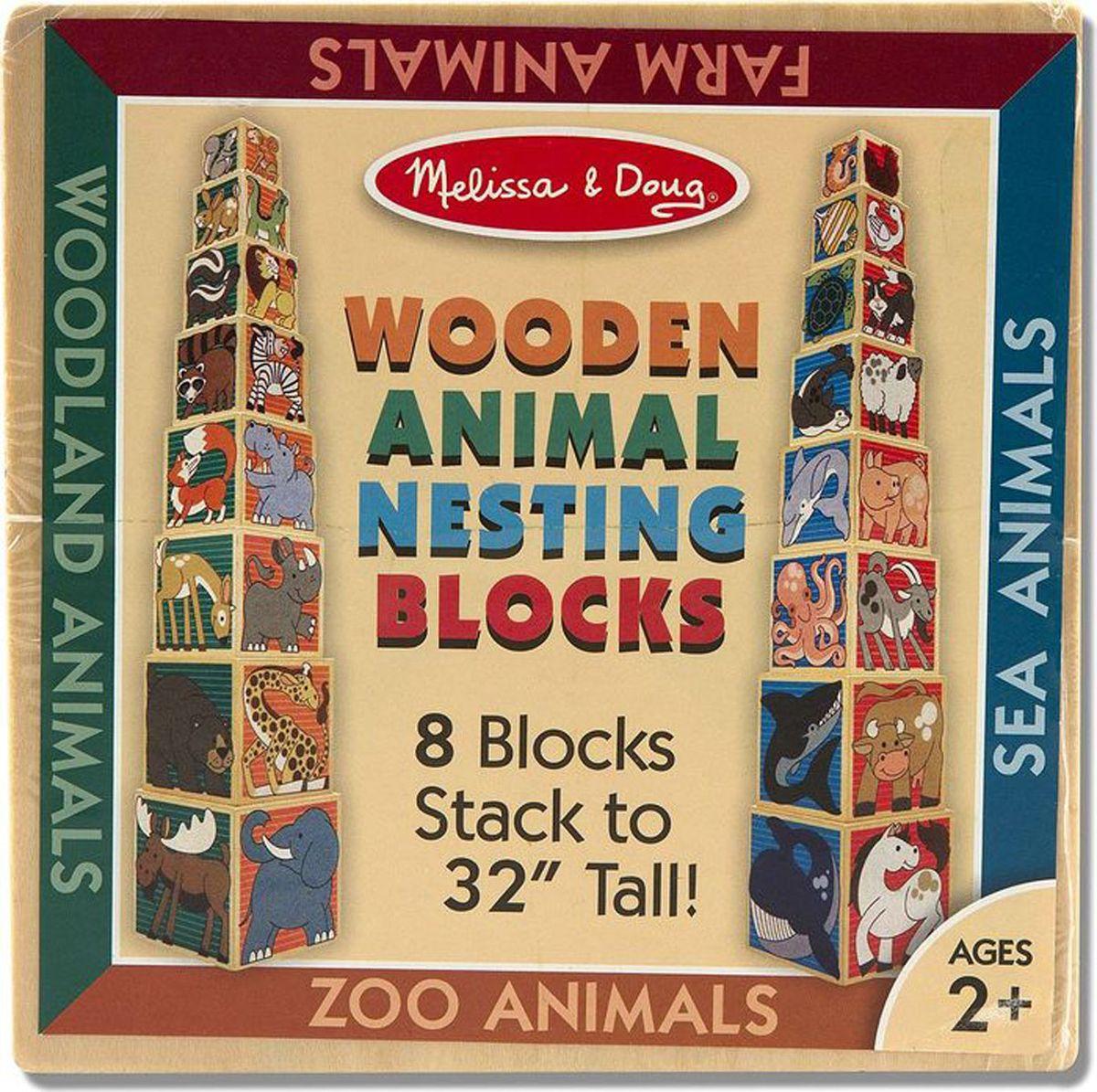Melissa & Doug Обучающая игра Деревянные кубики Животные развивающие деревянные игрушки кубики животные