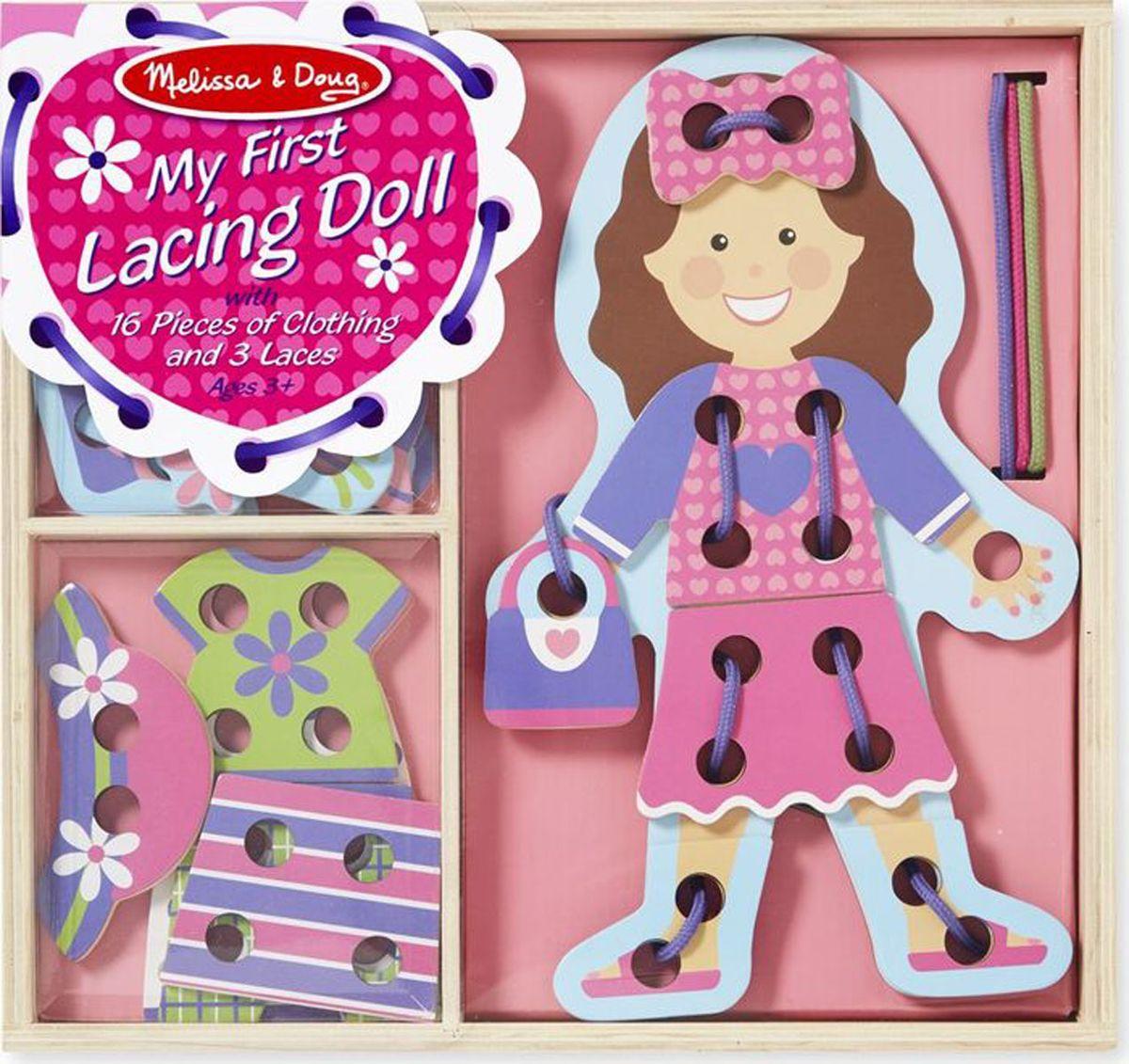 Melissa & Doug Игра-шнуровка Моя первая шнуровка, кукла, Обучение и развитие  - купить со скидкой
