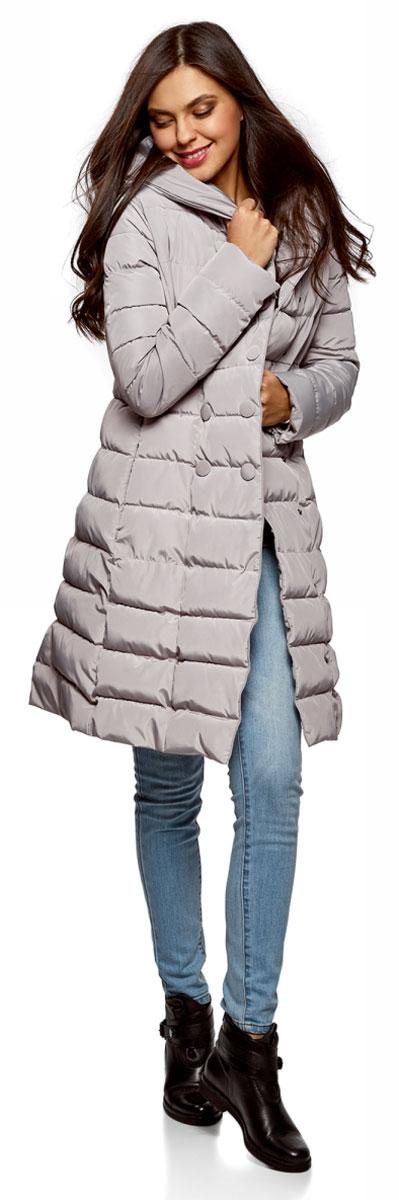 Пальто женское oodji Ultra, цвет: серый. 10204049B/24771/2300N. Размер 38-170 (44-170)