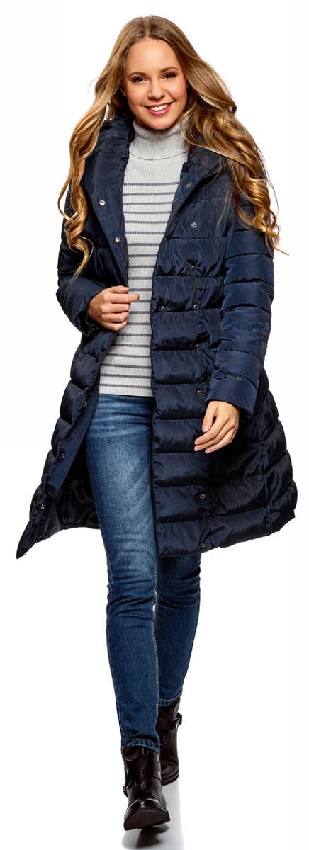 Пальто женское oodji Ultra, цвет: темно-синий. 10204049B/24771/7900N. Размер 38-170 (44-170)10204049B/24771/7900NЖенское утепленное пальто от oodji на синтепухе выполненное из высококачественного материала. Модель с длинными рукавами и объемным воротником-апаш застегивается на кнопки, по бокам дополнена втачными карманами.
