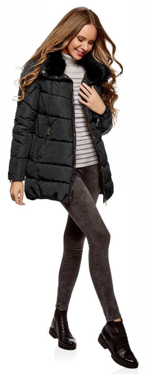 Куртка женская oodji Ultra, цвет: черный. 10210002-1/46266/2900N. Размер 42-170 (48-170)10210002-1/46266/2900NЖенская утепленная куртка от oodji на синтепоне выполненное из высококачественного материала. Модель с длинными рукавами и воротником с опушкой из искусственного меха застегивается на молнию и имеет ветрозащитный клапан на кнопках, по бокам дополнена втачными карманами на молниях.