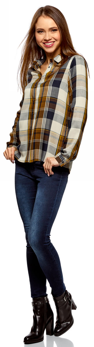 Рубашка женская oodji Ultra, цвет: хаки, темно-синий. 11411098/45208/6679C. Размер 44-170 (50-170)