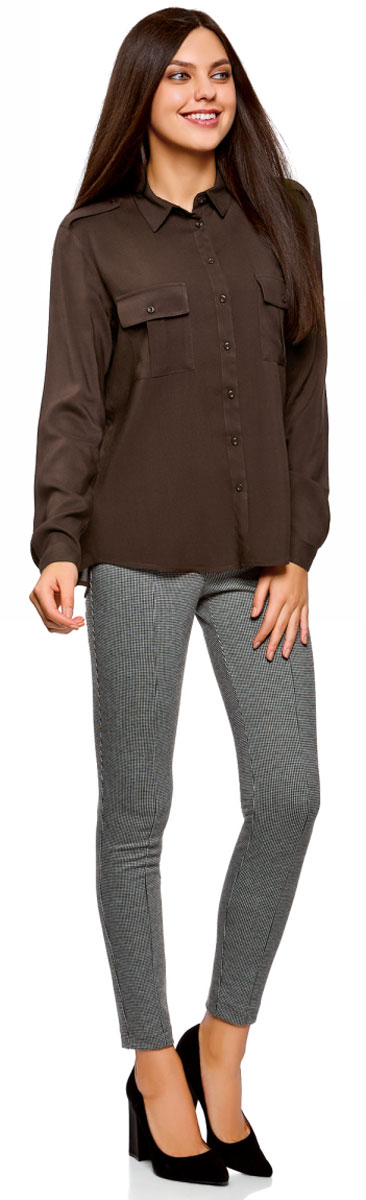 Блузка женская oodji Ultra, цвет: темно-коричневый. 11411127B/26346/3900N. Размер 36-170 (42-170)