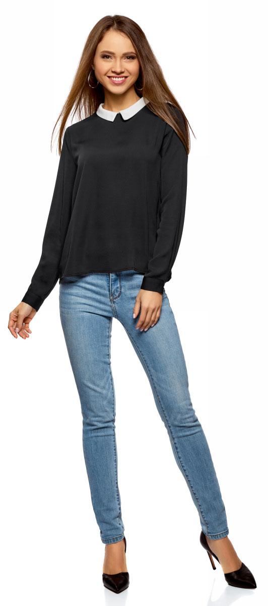 Блузка женская oodji Ultra, цвет: черный, белый. 11411181/43414/2912B. Размер 34-170 (40-170) блузка женская oodji ultra цвет зеленый 11411135b 14897 6b00n размер 34 170 40 170