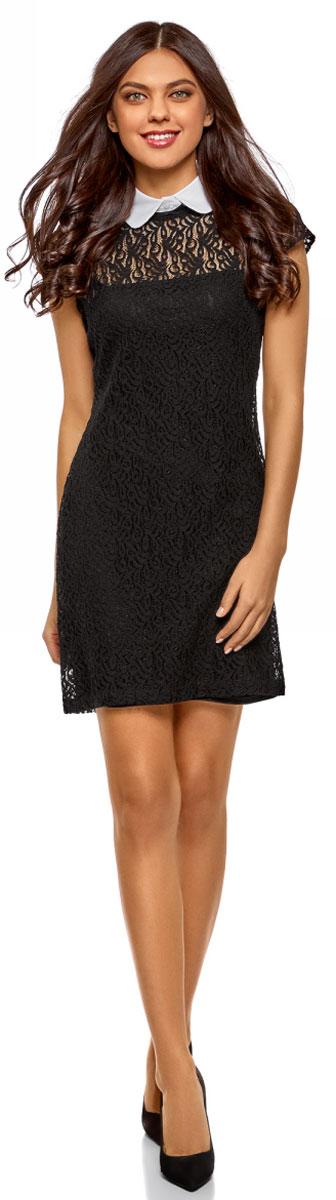 Платье oodji Ultra, цвет: черный, белый. 11912003/45967/2910B. Размер 42-170 (48-170)11912003/45967/2910BСтильное платье, выполненное из кружевного материала на подкладке, станет отличным дополнением вашего образа. Модель мини-длины с короткими рукавами и отложным воротником.