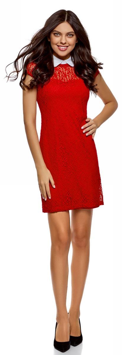 Платье oodji Ultra, цвет: красный, белый. 11912003/45967/4510B. Размер 40-170 (46-170)11912003/45967/4510BСтильное платье, выполненное из кружевного материала на подкладке, станет отличным дополнением вашего образа. Модель мини-длины с короткими рукавами и отложным воротником.