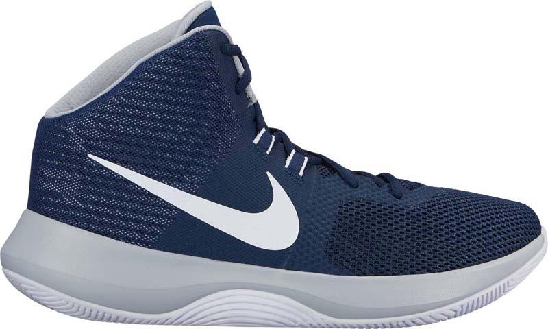 Кроссовки для баскетбола мужские Nike Air Precision Basketball Shoe, цвет: темно-синий, белый. 898455-401. Размер 9 (42)898455-401Мужские баскетбольные кроссовки Nike Air Precision, разработанные для универсальных игроков, обеспечивают легкость, фиксацию и воздухопроницаемость. Специальная динамичная система в средней части стопы обеспечивает поддержку и фиксацию при движении в разных направлениях. Вставка Nike Air в области пятки смягчает ударные нагрузки при приземлении. Система плетения Dynamic Fit обеспечивает поддержку и фиксацию средней части стопы. Легкий верх из сетки обеспечивает воздухопроницаемость и поддержку. Мягкий пеноматериал защищает лодыжку и голеностоп. Неполная внутренняя часть для плотной посадки и комфорта. Подошва из материала Phylon обеспечивает легкость, комфорт и амортизацию. Внутренний супинатор в средней части стопы обеспечивает жесткость при скручивании. Низкопрофильная резиновая подметка для прочности и сцепления с разными поверхностями. Резина с особыми полостями, открывающими супинатор в средней части стопы, охватывает боковую часть подошвы для повышенного сцепления при рывках.