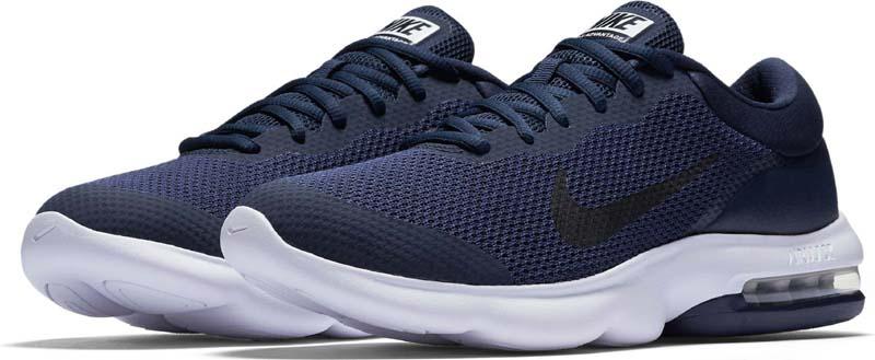 Кроссовки для бега мужские Nike Air Max Advantage Running Shoe, цвет: темно-синий. 908981-400. Размер 9 (42)908981-400Мужские беговые кроссовки Nike, выполненные из текстиля и пластика, дополнены фирменной нашивкой на язычке. Верх из сетки комфортно облегает стопу, а вставка в области пятки создает упругую амортизацию на всей дистанции. Накладка из пеноматериала обхватывает пятку для дополнительной прочности и стабилизации. Инжектированная подошва со вставкой Max Air обеспечивает легкость, амортизацию и плавность движений. Подошва с рифлением обеспечивает отличное сцепление на любой поверхности. Мягкие и удобные, кроссовки превосходно подчеркнут ваш спортивный образ и подарят комфорт.