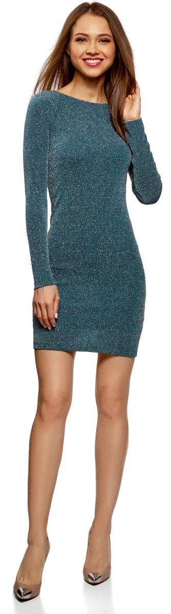 Платье oodji Ultra, цвет: морская волна, серебристый металлик. 14000165-1/46124/6C91X. Размер S (44)14000165-1/46124/6C91XПлатье oodji Ultra исполнено из мягкой облегающей ткани с вкраплениями нити цвета металлик. Имеет длинные рукава и V-образный вырез горловины. Платье плотно садится по фигуре.