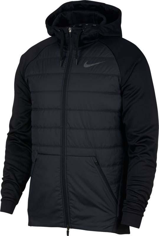 Куртка мужская Nike Nk Thrma Jkt Hd Fz Wntrzd, цвет: черный. 864103-010. Размер M (46/48)864103-010Мужская куртка для тренинга Nike Therma выполнена из особой ткани, использующей естественное тепло тела. Утепленная конструкция с пуховым наполнителем и водоотталкивающее покрытие надежно защищают от непогоды. Модель с капюшоном застегивается на застежку-молнию. Водолазный капюшон, состоящий из трех панелей, защищает от непогоды. Легкая ткань рипстоп для комфорта. Отсеки с наполнителем из пуха - для легкости и защиты от холода. Прочное водоотталкивающее покрытие защищает от влаги. Карман-кенгуру спереди - для защиты рук от холода и надежного хранения мелочей.
