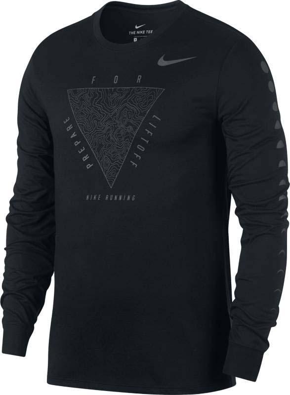 Лонгслив для бега мужской Nike Nk Dry Tee Dbl Ls Metallic, цвет: черный. 880332-010. Размер L (50/52) футболка m nkct dry tee dbl 2