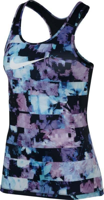 Майка для фитнеса женская Nike Np Tank Flower Jams, цвет: мультиколор. 856246-595. Размер XS (40/42)856246-595Женская майка для фитнеса Nike Pro плотно прилегает к телу, что позволяет носить ее самостоятельно или сочетать с другими элементами одежды. Конструкция с Т-образной спиной не сковывает движений, а глубокий круглый вырез подчеркивает женственность. Технология Dri-FIT обеспечивает вентиляцию и комфорт.