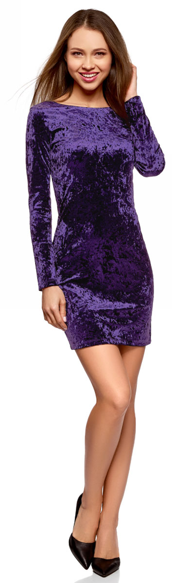 Платье oodji Ultra, цвет: темно-фиолетовый. 14000165-3/47508/8800N. Размер XXS (40)14000165-3/47508/8800NЭлегантное платье, выполненное из фактурного материала, станет отличным дополнением вашего праздничного образа. Модель с длинными рукавами на спине имеет глубокий вырез.