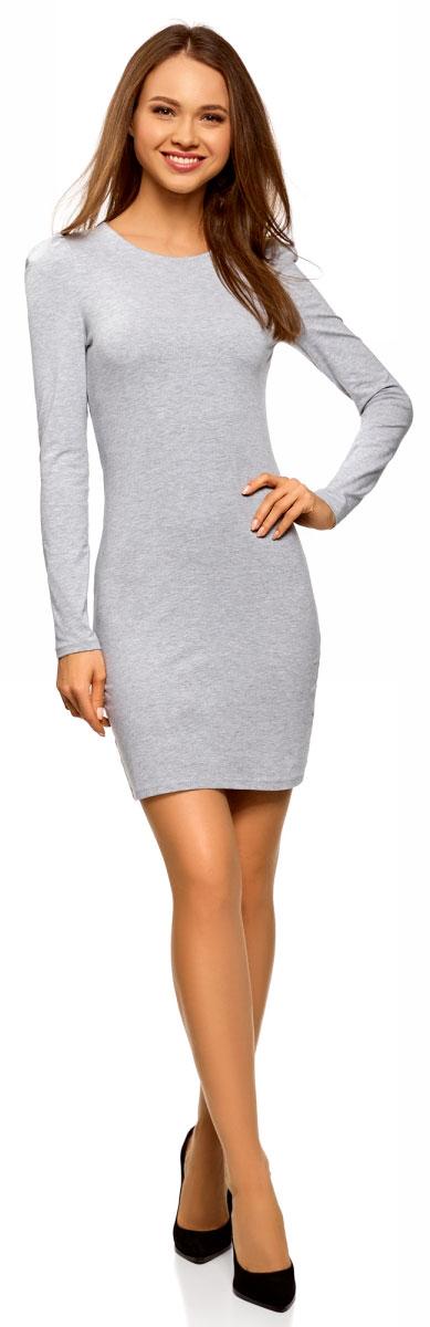 Платье oodji Ultra, цвет: светло-серый меланж. 14000171B/46148/2000M. Размер S (44)14000171B/46148/2000MСтильное мини-платье от oodji выполнено из эластичного хлопкового трикотажа. Модель приталенного кроя с длинными рукавами и круглым вырезом горловины.