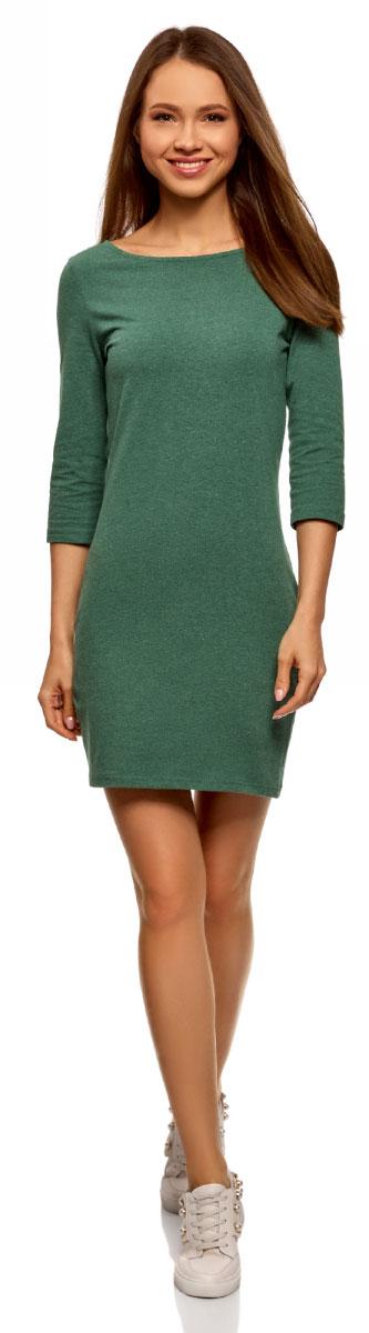 Платье oodji Ultra, цвет: изумрудный меланж. 14001071-2B/47420/6D00M. Размер XS (42)14001071-2B/47420/6D00MСтильное платье от oodji выполнено из эластичного хлопкового трикотажа. Модель облегающего силуэта с рукавами 3/4 и круглым вырезом горловины.